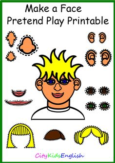 www.citykidsenglish.com Print   -   Laminate   -     Cut Around the Shape   -     Play  Do you want to help your students learn facial feature vocabulary? With Make a Face your students can learn sizes and colour of eyes as well as the features.  Ask your students to put specific features together and make a face.  Make a Face comes with:  Six Hair Styles Two Faces Three Sets of Eyes Three Sets of Ears Three Mouths Three Noses