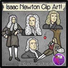 Isaac Newton clip art - color and black line $