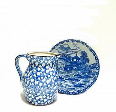 Vintage Blue & White Pitcher and Dish Japan Asian 1960s Pottery