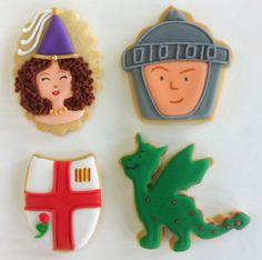 Galletas de Sant Jordi: los personajes de la Diada. Idea de @La Galletería de Tastery #Galleta #SantJordi #Glasa