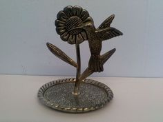 Hummingbird Sunflower Jewelry Ring Holder Stand.\