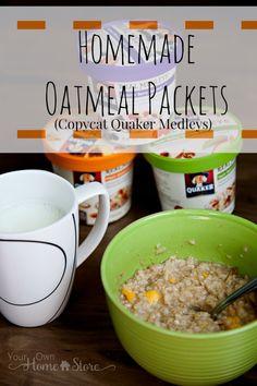 Copycat Recipes | Breakfast Recipes | Homemade Oatmeal Packets (aka copycat Quaker Medleys) | Food Storage Recipes | Healthy Breakfast Food