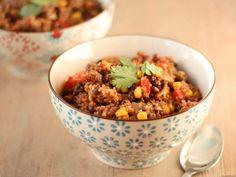 Recette Plat : Chili sin carne au quinoa, maïs et haricots noirs par Clementinecuisine