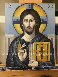 Christian Paintings, Cursive Alphabet, Byzantine Icons, Art Icon, Orthodox Icons, Religious Art, Santorini, Jesus Christ, Catholic