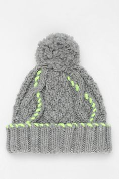 Neon-Stitch Pompom Beanie #urbanoutfitters