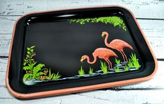 Pair Vintage Flamingo Metal Trays