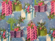 Vintage Christmas Wrapping Paper  Pink by TheGOOSEandTheHOUND