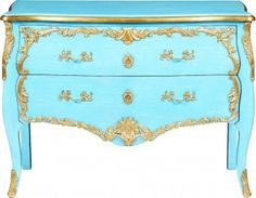 Marie Antoinette Blue Chest // Antique reproduction French blue two drawer chest with raised gold leaf decor // Model #  574-45-14331