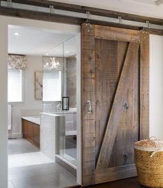 .barn door going into bath