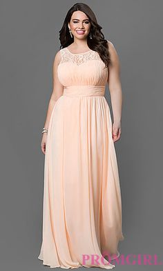 8b3df0e6bc2 Chiffon Floor Length Sleeveless Dress with Corset Back at PromGirl.com Plus  Size Prom Dresses