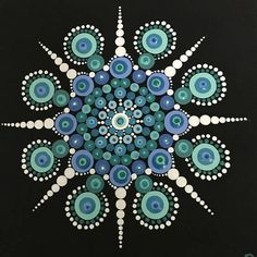 Hand painted dot Mandala on a stretched canvas. Painted with acrylics in aquas, turquoise, teal, blues, green and white Mandala Artwork, Mandala Canvas, Mandala Print, Mandala Painting, Mandala Pattern, Dot Painting Tools, Dot Art Painting, Pebble Painting, Painting Patterns