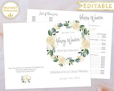 Young Women New Beginnings Program Editable PDF Template White Gold Floral, New Beginnings Program, LDS, YW, Young Women program, Printable by LineDesignArts on Etsy