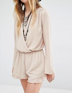 Honey Punch | Honey Punch Wrap Front Drapey Playsuit With Frill Hem