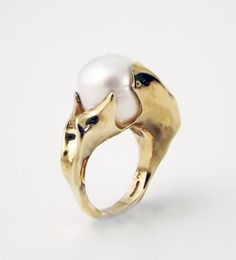 White Cultured Pearl Ring by RobinsonGoldsmith on Etsy, £650.00