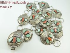 """Early Navajo Sterling Silver 925 Turquoise & Coral BELT Signed CV(?) 37""""L x 1.75 #CV"""