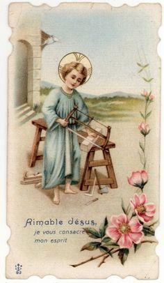 Little Jesus carpenter Catholic Art, Religious Art, Childhood Images, Catholic Pictures, Vintage Holy Cards, Blessed Family, Religion Catolica, Mary And Jesus, Christian Kids