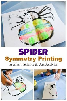 Spider symmetry printing, a 3 in 1 Math, Science and Art Activity for kids - Happy Tot Shelf Symmetry Activities, Insect Activities, Toddler Learning Activities, Art Activities For Kids, Science For Kids, Kindergarten Activities, Toddler Preschool, Fun Learning, Preschool Activities