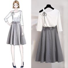 ICHOIX 2 pieces skirt sets summer 2019 Korean Style sweet plaid skirt two-piece sets women elegant suits S-XL 2 pieces outfits Fashion Drawing Dresses, Fashion Illustration Dresses, Skirt Fashion, Fashion Dresses, Teen Fashion Outfits, Mode Outfits, Cute Fashion, Fashion Design Drawings, Fashion Sketches