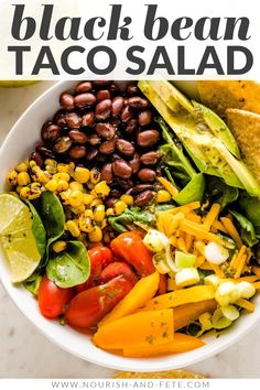 Tacos get a healthy upgrade in the form of a Vegetarian Taco Salad with black beans, a rainbow of veggies, crushed tortilla chips, and a mouth-watering fresh cilantro lime salad dressing. Vegetarian Taco Salad, Vegetarian Recipes, Healthy Recipes, Easy Family Meals, Family Recipes, Healthy Salads, Healthy Food, Lime Salad Dressing, Great Salad Recipes