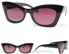 Womens-BLACK-Thick-Cat-Eye-Sunglasses-girls-rockabilly-pin-up-suicide-pointy