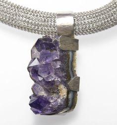 Amethyst Anhänger auf Edelstahlcollier Gold, Accessories, Fashion, Gemstones, Handmade Jewelry, Objects, Necklaces, Silver, Moda