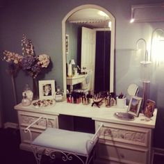 Painted Furniture, Refinish, Redo, DIY,  AFTER Makeup Vanity BEAUTIFUL!!!!  I needed a cheap inexpensive way to transform my guest bedroom into my office/dressing room working with things I already had at home.  With a lot of imagination and a little hard work it turned out better then I expected. (see complete dressing room under separate board)