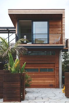 Exterior design, lots of natural wood.