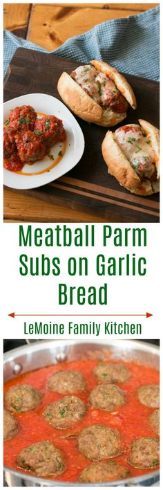 Meatball Parm Subs on Garlic Bread - LeMoine Family Kitchen Zucchini Tomato, How To Make Sandwich, Family Kitchen, Homemade Sauce, Garlic Bread, Burger Recipes, Meatball, Pizzeria, Freezer Meals