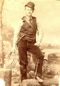 Train lineman from the late 19th century.
