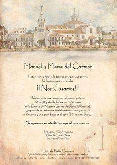 Nueva versión de invitación de boda rociera #ElRocio #Huelva #bodasflamencas