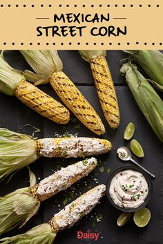 For a fun twist on traditional grilling,  try making Mexican Street Corn! Fresh off the cob with a dash of lime spiked sauce, this dish is sure to earn you the title of grill master. Mexican Dishes, Mexican Food Recipes, Dinner Recipes, Mexican Entrees, Healthy Recipes, Breakfast Recipes, Grilling Recipes, Cooking Recipes, Health Goals