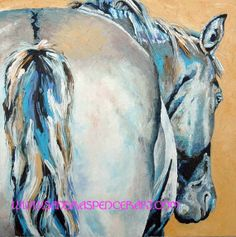 Original Gray Horse Oil Painting 18x18 love the cool neutral colors