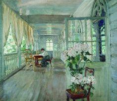Terrace in the estate, Stanislav Yulianovich Zhukovsky. Russian (1875–1944)