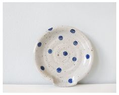 Polka dots pottery spoon rest blue grey ceramic