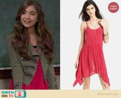 Riley's red handkerchief hem dress on Girl Meets World.  Outfit Details: http://wornontv.net/37274/ #GirlMeetsWorld