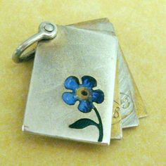 Antique German Silver Enamel Slide Open Charm Locket Forget Me not Flower 1800'S