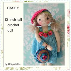 CROCHET DOLL, Finished doll 13 Inch tall by chepidolls on Etsy