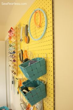 Pretty Painted Pegboard for Sewing Organization [How-To] - Sew Fearless yellow! Sewing Nook, Sewing Room Storage, Sewing Spaces, Craft Storage, Do It Yourself Organization, Sewing Room Organization, Organization Ideas, Painted Pegboard, Sewing Crafts