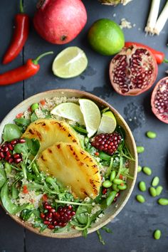 Grilled Pineapple, Lime and Chilli Quinoa Salad