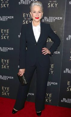 """Helen Mirren wears a classic navy Giorgio Armani for the """"Eye In The Sky"""" premiere"""
