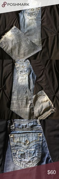 Rock Revival jeans. Rock Revival Jeans. Great condition. Worn once. Cuts on bottom (as shown in pic) to fit around boots better. Slim Bootcut. 31x32 asking $60 OBO. Rock Revival Jeans Bootcut