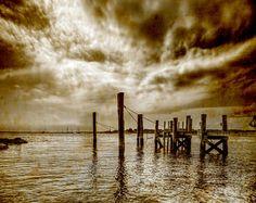 Sepia Pier Print, Waterscape, Vintage, Rocky Beach, Clouds, Landscape Photograph, Nature, Fine Art Photography, Brandon Spannbauer