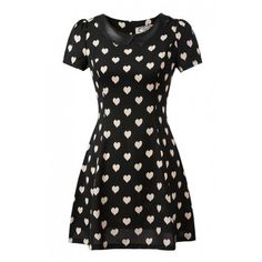 Heart Print PU Insert Short Sleeve Lapel Dress ($15) ❤ liked on Polyvore featuring dresses, vestidos, short sleeve dress, heart pattern dress, pu dress, short-sleeve dresses and heart print dress