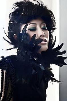 Black Feather and Lace Neckpiece/Sash by ChezKevito on Sense of Fashion