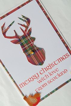 Merry Christmas with love from Scotland tartan stag by KaisCards