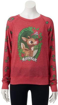 Eyeshadow Juniors' Graphic Christmas Sweater & Hat | Christmas ...