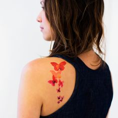 Hannah Zakari - Coral Butterfly Temporary Tattoos #temporary-tattoos