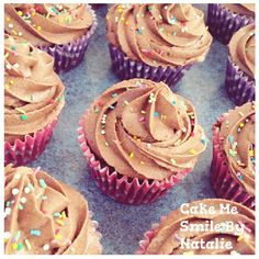 Milk chocolate sprinkle cupcakes - yum. By Natalie Baxter. Cake Me Smile By Natalie https://m.facebook.com/Cake-Me-Smile-by-Natalie-965591876858656/