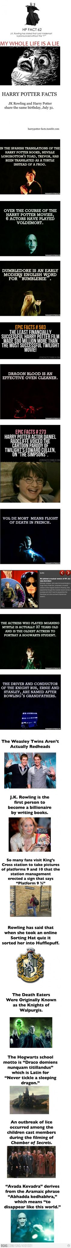 20 Facts You May Not Know About Harry Potter- Some of these are really surprising.. but i knew most of them