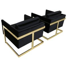 "Mirror Polished Brass ""Cube"" Chairs by Milo Baughman 